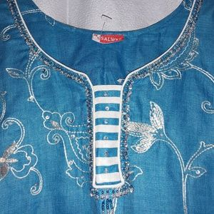 Salwar Dresses - Blue Beaded Sequin Kurti